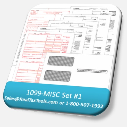 1099 Set # 1: 1099 Forms, W-3 Forms plus envelopes